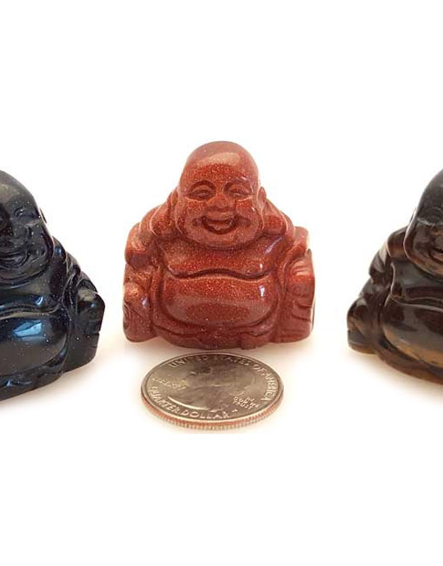 ASSORTED STONE BUDDHA FIGURINES FASB